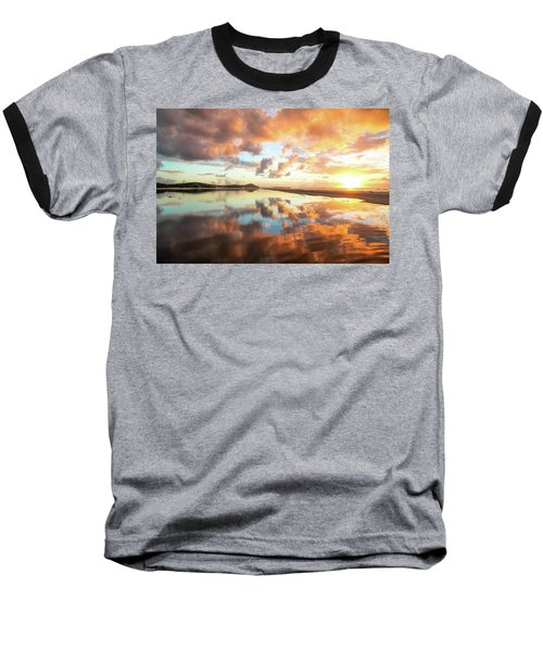 Sunset Beach Reflections Baseball T-Shirt
