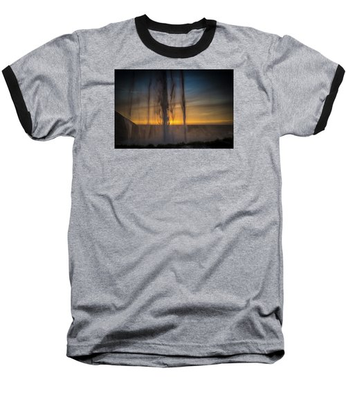 Baseball T-Shirt featuring the photograph Sunset Behind The Waterfall by Chris McKenna