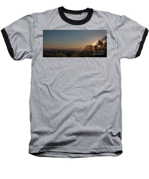 Sunset Behind Tree With Forest And Mountains In The Background Baseball T-Shirt