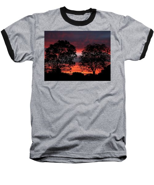 Sunset Behind Two Trees Baseball T-Shirt by Sheila Brown