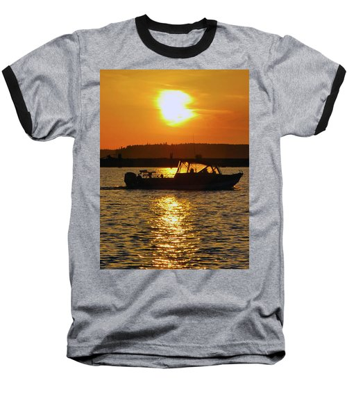 Sunset Boat Baseball T-Shirt