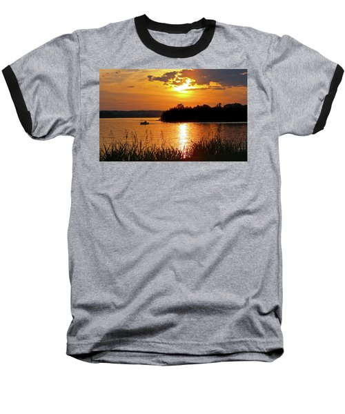 Sunset Boater, Smith Mountain Lake Baseball T-Shirt