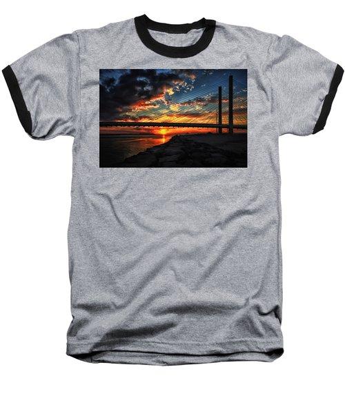 Sunset Bridge At Indian River Inlet Baseball T-Shirt