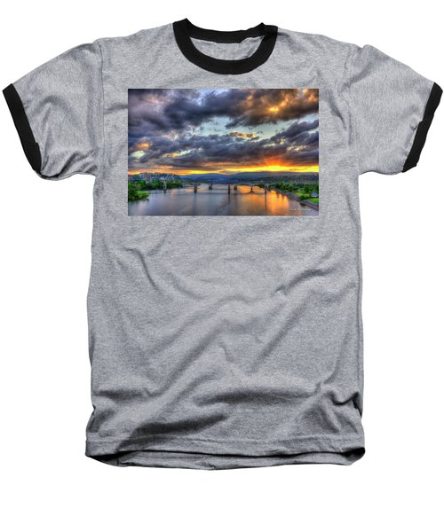 Sunset Bridges Of Chattanooga Walnut Street Market Street Baseball T-Shirt