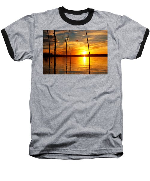 Baseball T-Shirt featuring the photograph Sunset By The Water by Angel Cher