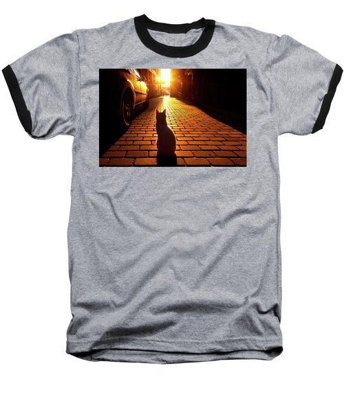 Sunset Cat Baseball T-Shirt