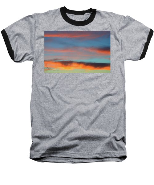 Sunset Clouds In Blue Sky  Baseball T-Shirt by Lyle Crump