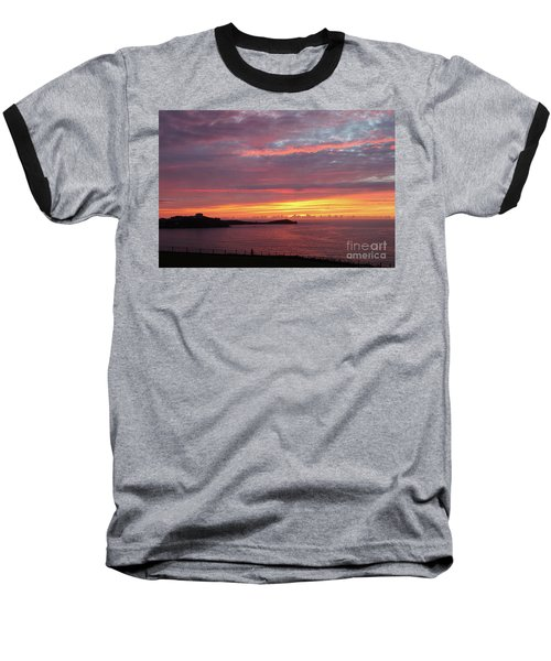 Baseball T-Shirt featuring the photograph Sunset Clouds In Newquay Cornwall by Nicholas Burningham