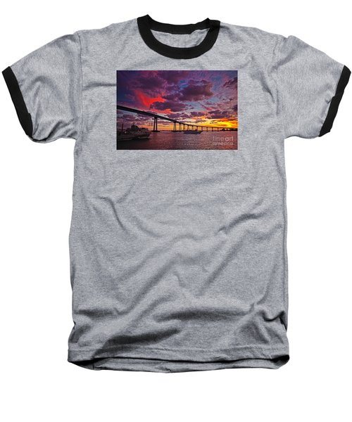 Sunset Crossing At The Coronado Bridge Baseball T-Shirt by Sam Antonio Photography