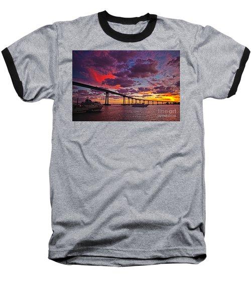 Sunset Crossing At The Coronado Bridge Baseball T-Shirt