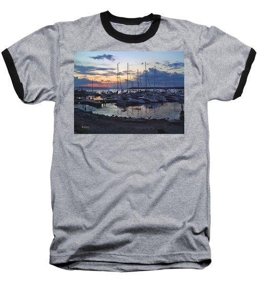 Sunset Dock Baseball T-Shirt by Felipe Adan Lerma