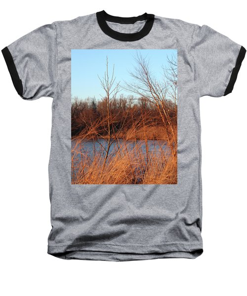 Sunset Field Over Water Baseball T-Shirt