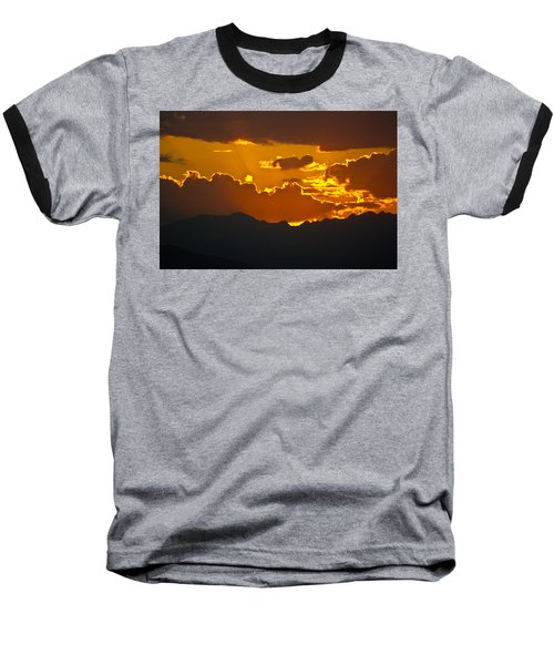 Sunset Fire Baseball T-Shirt by Colleen Coccia