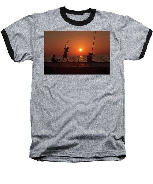 Sunset Fishermenr Baseball T-Shirt