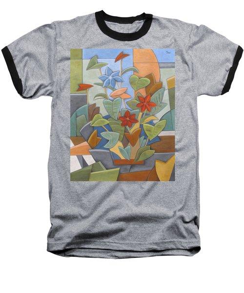 Sunset Flowerbed Baseball T-Shirt by Trish Toro