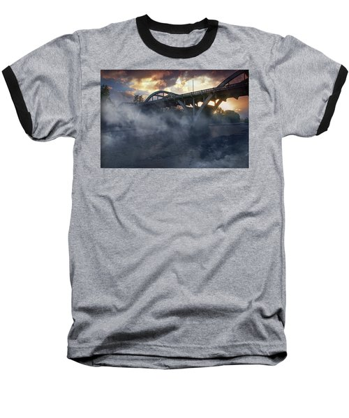 Sunset Fog At Caveman Bridge Baseball T-Shirt by Mick Anderson
