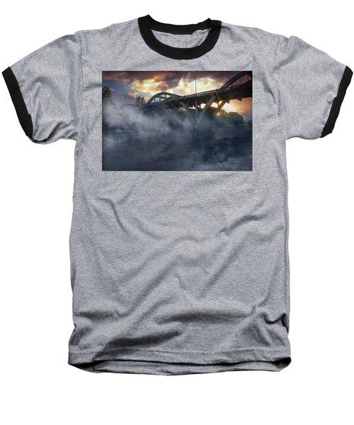 Sunset Fog At Caveman Bridge Baseball T-Shirt
