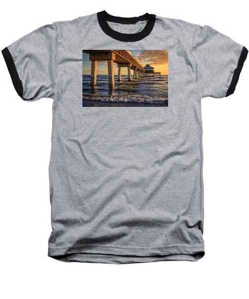 Baseball T-Shirt featuring the photograph Sunset Fort Myers Beach Fishing Pier by Edward Fielding