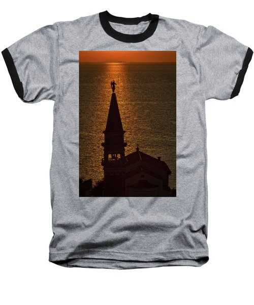 Baseball T-Shirt featuring the photograph Sunset From The Walls #2 - Piran Slovenia by Stuart Litoff