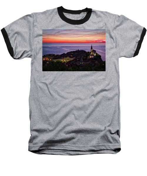 Baseball T-Shirt featuring the photograph Sunset From The Walls #3 - Piran Slovenia by Stuart Litoff