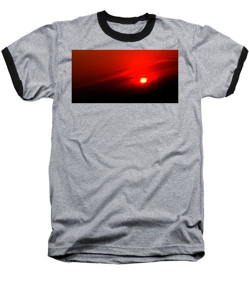 Sunset Geese Leaving Disappearing City - 0814  Baseball T-Shirt