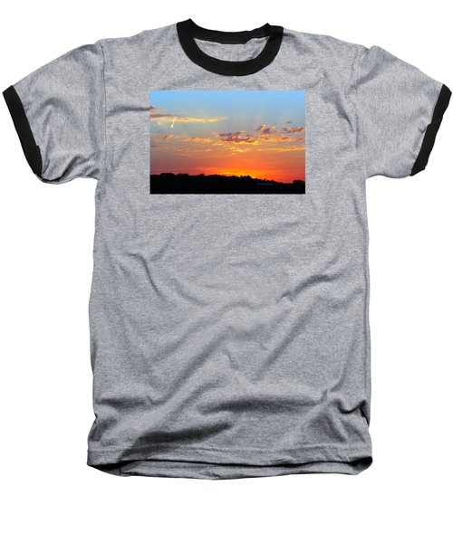 Sunset Glory Orange Blue Baseball T-Shirt by Jana Russon
