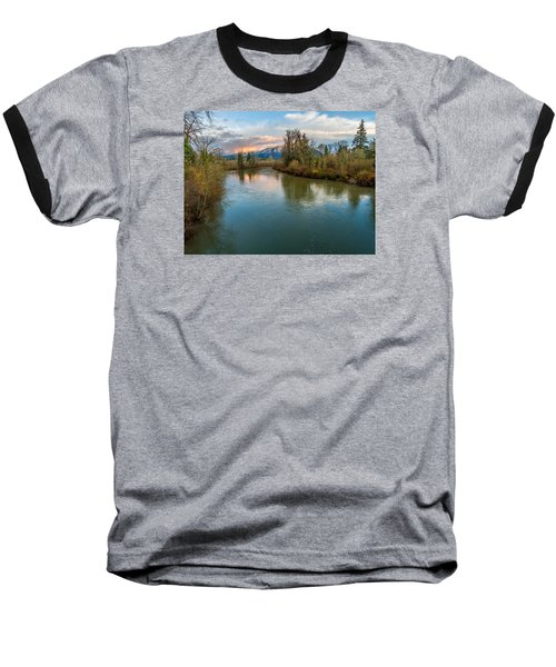 Sunset Glow Over The Snoqualmie River Baseball T-Shirt