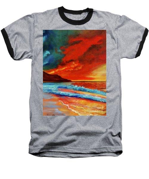 Sunset Hawaii Baseball T-Shirt by Jenny Lee
