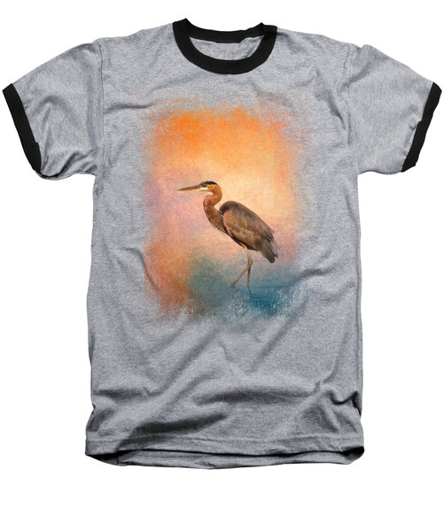 Sunset Heron Baseball T-Shirt