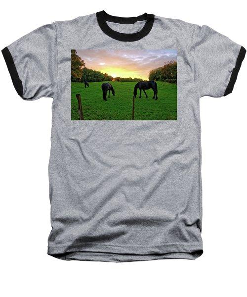 Sunset Horses Baseball T-Shirt