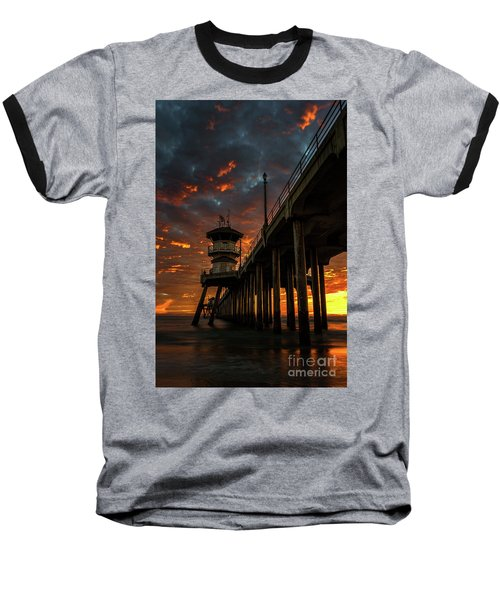 Sunset Huntington Beach Pier Baseball T-Shirt