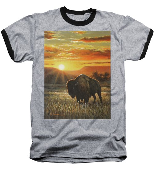 Sunset In Bison Country Baseball T-Shirt