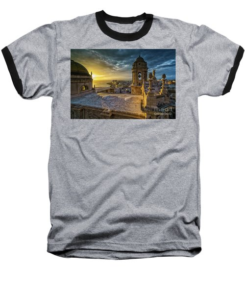 Baseball T-Shirt featuring the photograph Sunset In Cadiz Cathedral View From Levante Tower Cadiz Spain by Pablo Avanzini