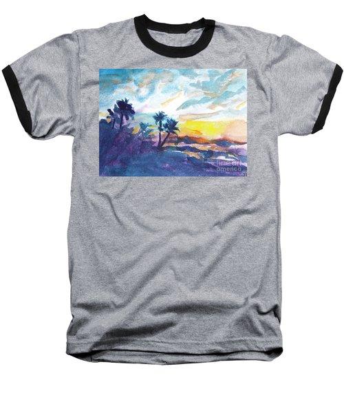 Sunset In Hawaii Baseball T-Shirt by Jan Bennicoff