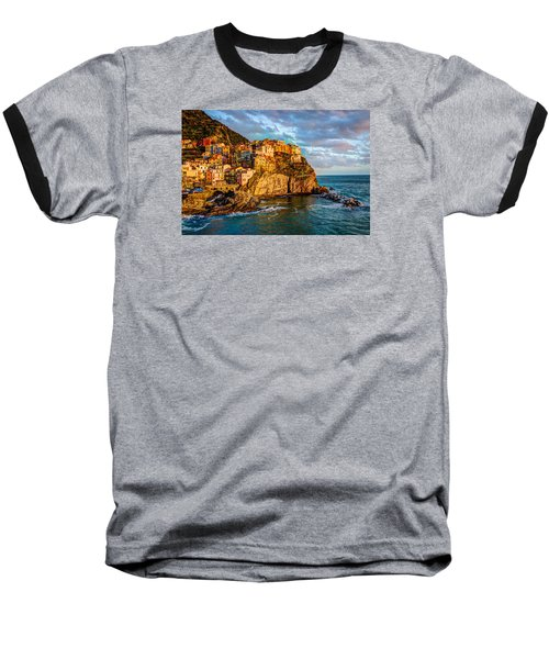 Baseball T-Shirt featuring the photograph Sunset In Manarola by Wade Brooks