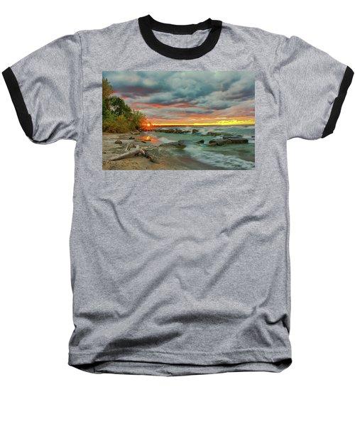 Sunset In Rocky River, Ohio Baseball T-Shirt