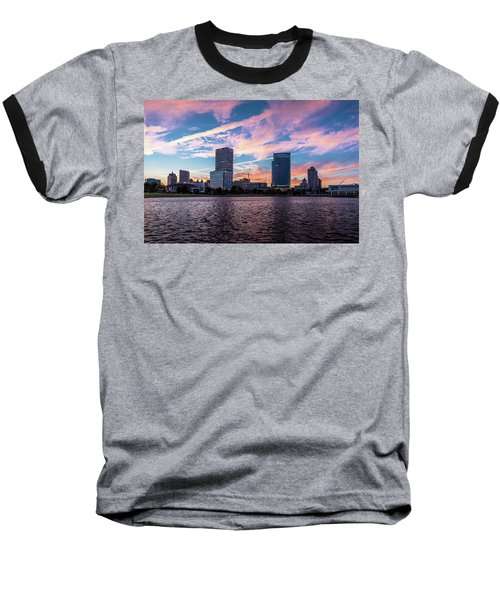Baseball T-Shirt featuring the photograph Sunset In The City by Randy Scherkenbach