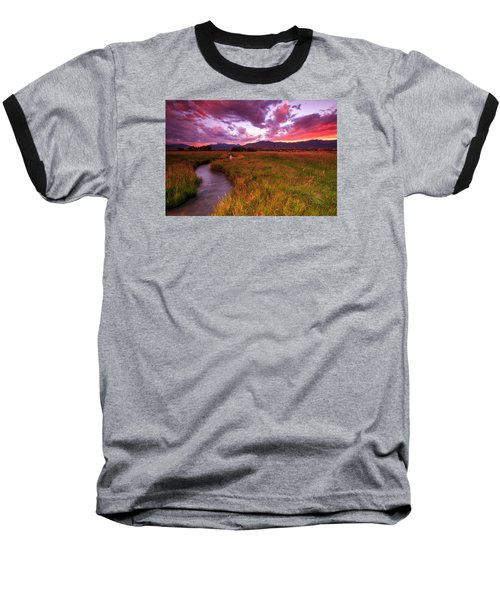 Sunset In The North Fields. Baseball T-Shirt by Johnny Adolphson