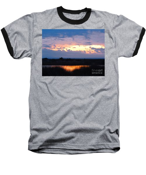 Sunset In The River Sea Beyond Baseball T-Shirt by Expressionistart studio Priscilla Batzell