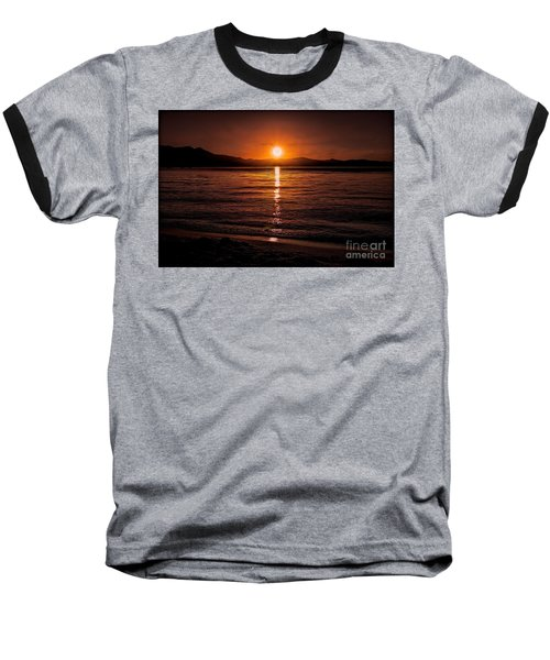 Sunset Lake 810pm Textured Baseball T-Shirt