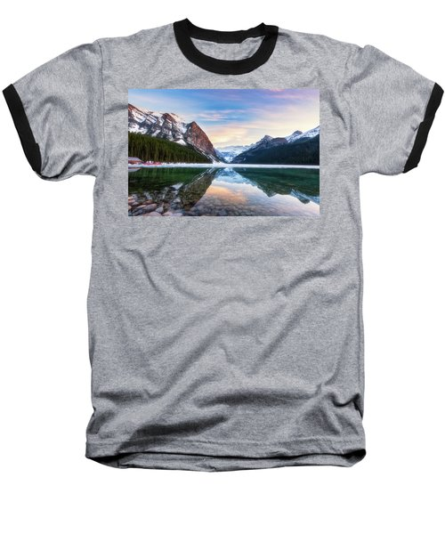 Sunset Lake Louise Baseball T-Shirt