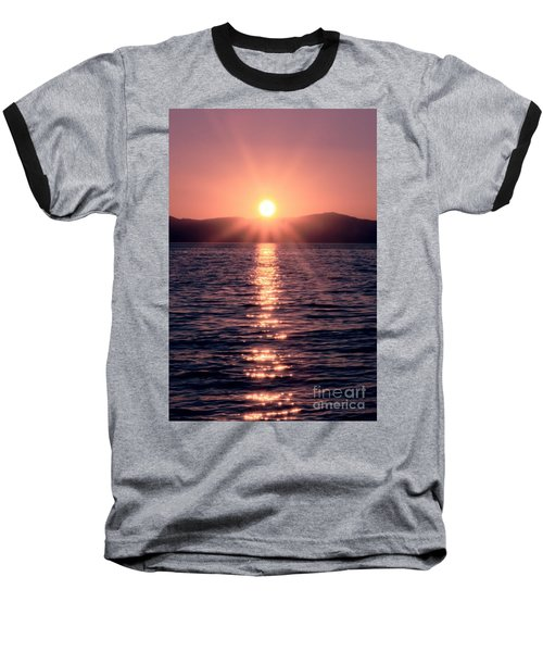 Sunset Lake Verticle Baseball T-Shirt