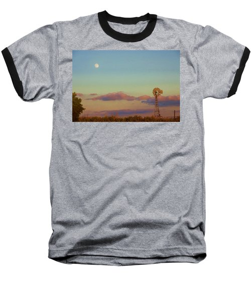 Sunset Moonrise With Windmill  Baseball T-Shirt