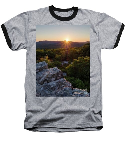 Sunset, Mt. Battie, Camden, Maine 33788-33791 Baseball T-Shirt by John Bald