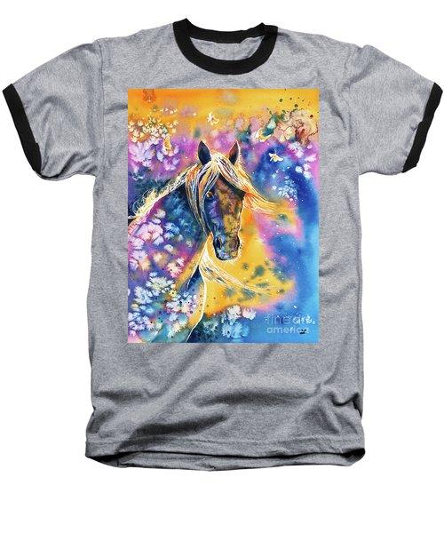 Baseball T-Shirt featuring the painting Sunset Mustang by Zaira Dzhaubaeva