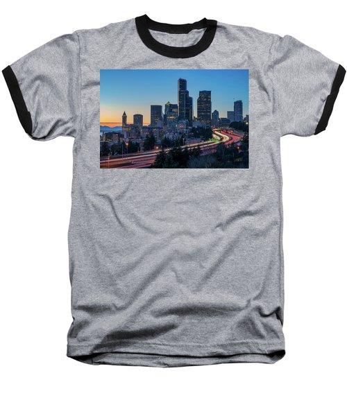 Sunset Night-freeway Lights Baseball T-Shirt