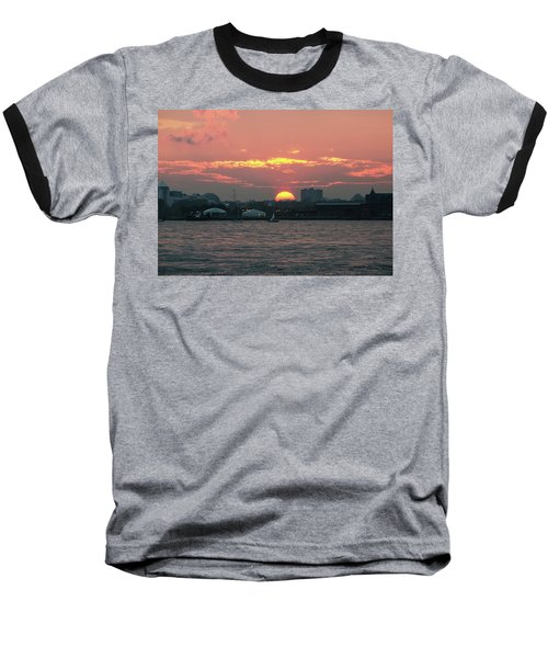 Sunset Nyc Harbor Baseball T-Shirt