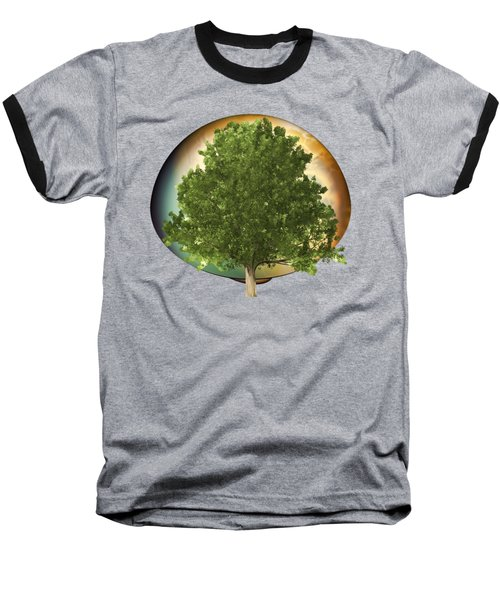 Sunset Oak Tree Cartoon Baseball T-Shirt by Linda Phelps