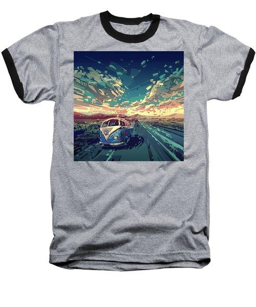 Sunset Oh The Road Baseball T-Shirt by Bekim Art
