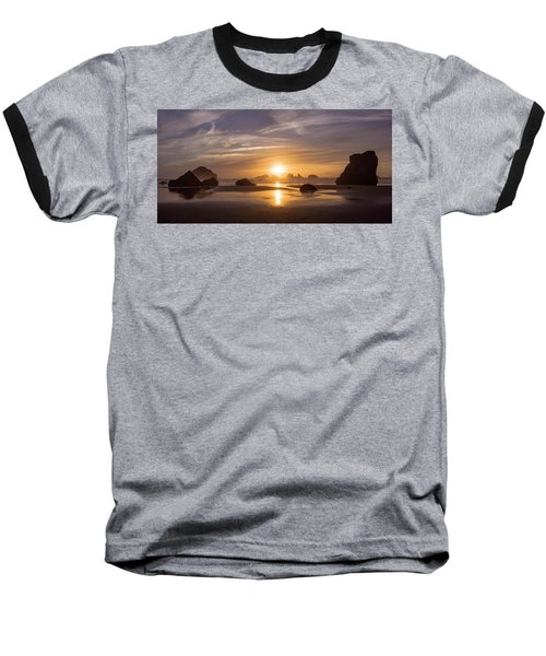 Sunset On Bandon Beach Baseball T-Shirt